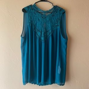 Sheer Turquoise Top with Lace Neck